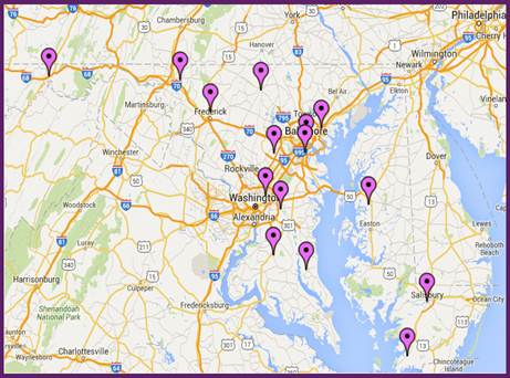 Map of NEDP locations in Maryland