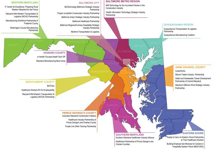 Map of EARN Maryland Implementation Grantee Partnerships